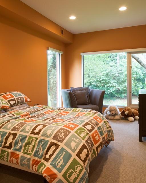 橙色簡約宜家兒童房窗戶設計