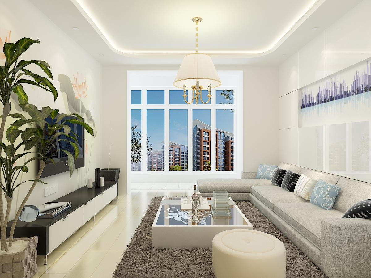 白色简约客厅窗户效果图