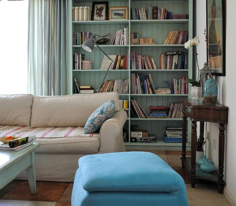 清新地中海客廳書架裝飾設計