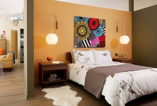 現代混搭臥室 橙色背景墻效果圖