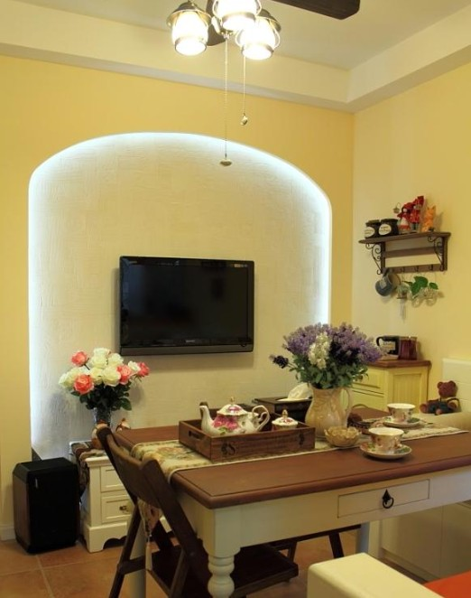 乡村田园餐厅 电视背景墙造型设计_装修百科