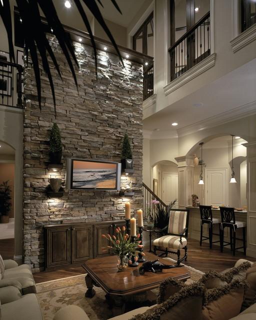 古典欧式别墅 客厅文化砖背景墙设计