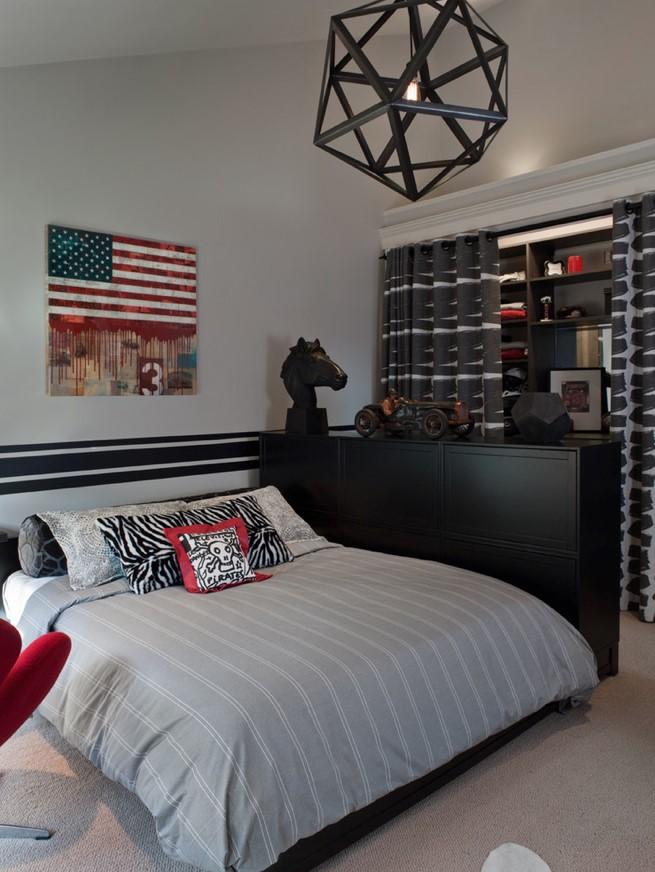 美式風格男生房軟裝裝飾設計