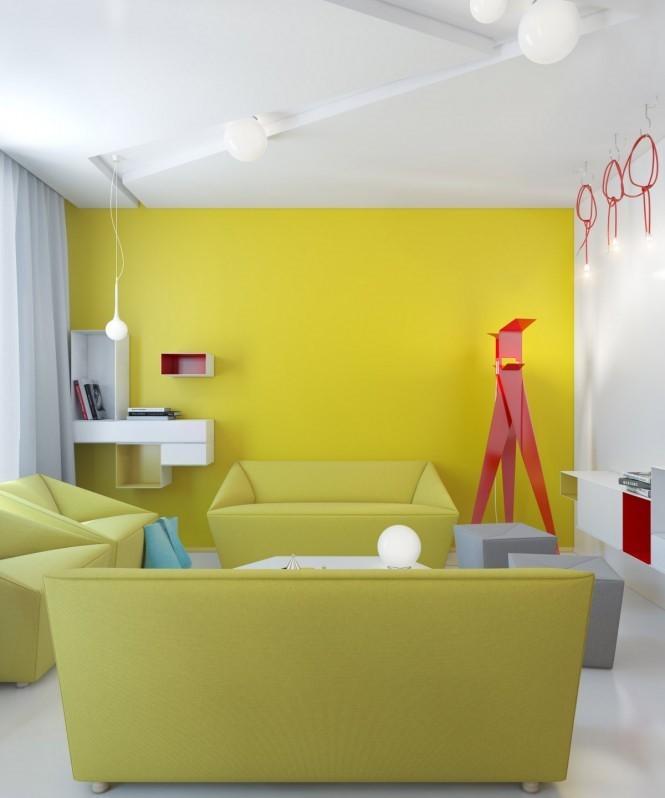 紅黃暖色調現代小戶型裝潢圖