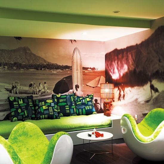 青草绿美式现代沙发效果图