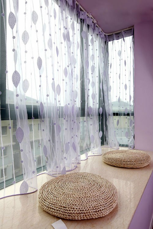 梦幻紫简欧风飘窗纱帘效果图