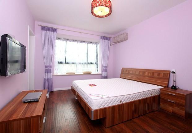 浪漫紫簡約田園風 臥室背景墻效果圖