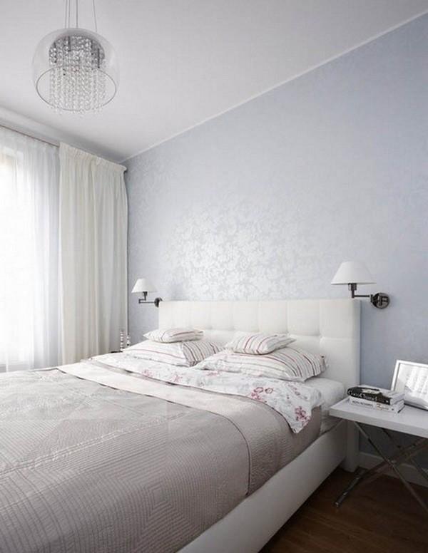 純色極簡主義臥室背景墻設計