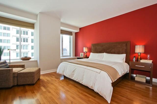 簡約現代風婚房臥室  紅色背景墻設計