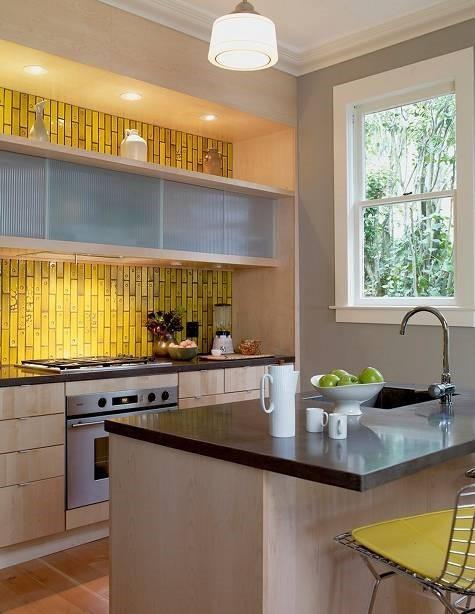 低奢简约风厨房 金色马赛克背景墙欣赏