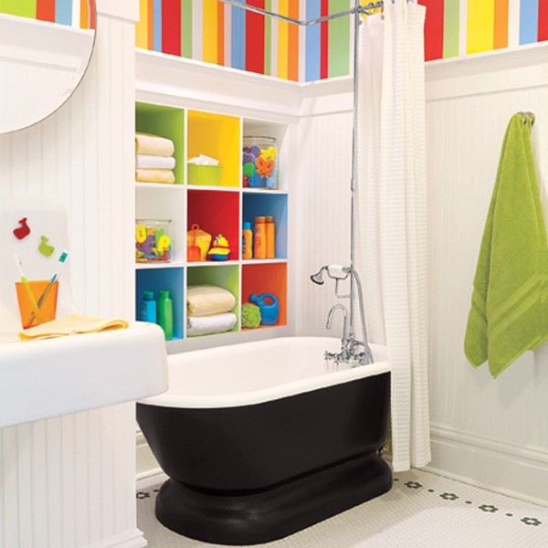 彩色简欧风浴室 墙面置物柜设计_装修百科