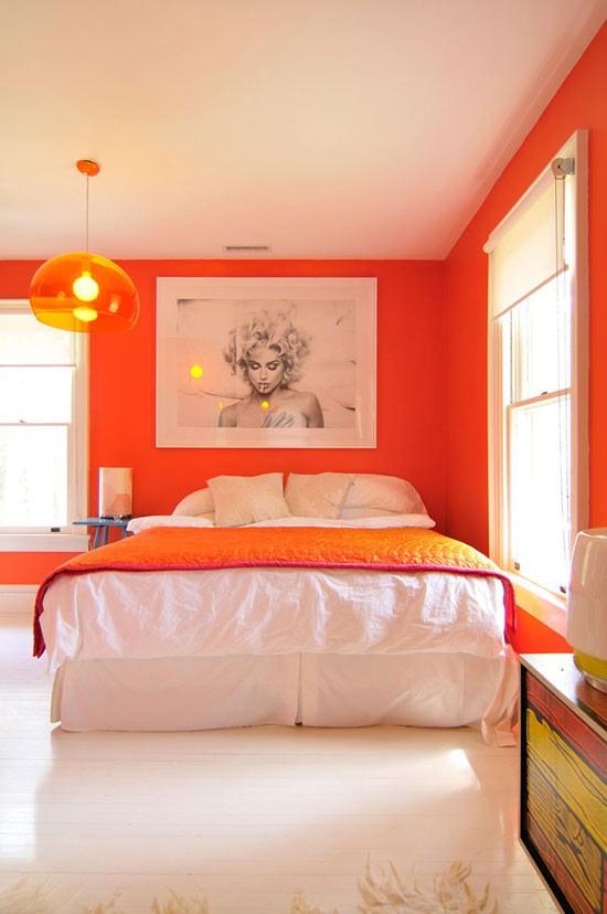 甜橙色簡歐風臥室背景墻設計
