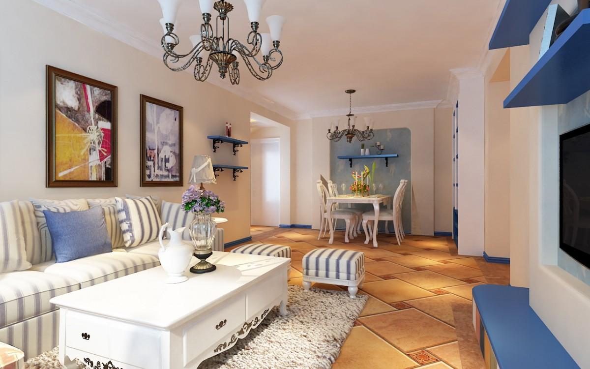 藍白地中海風格小戶型家裝圖
