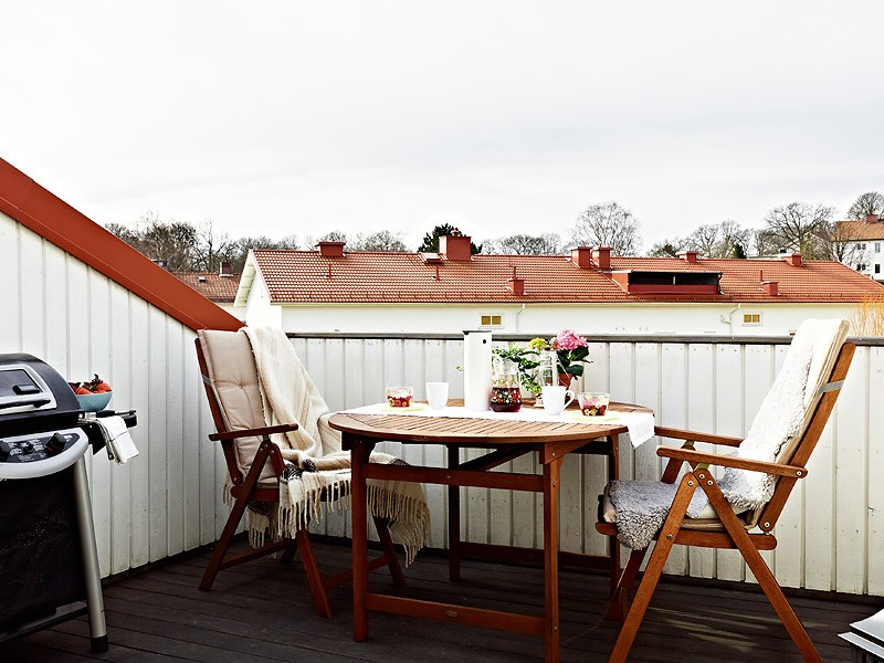 自然北欧风复式楼 露台休闲区效果图