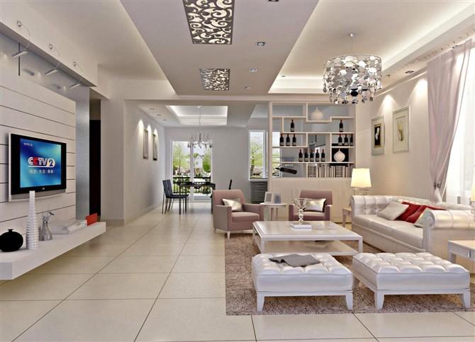 最新现代别墅客厅吊顶设计图_装修百科