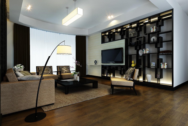 现代中式客厅 创意电视背景墙设计_装修百科图片