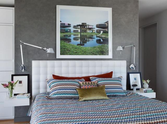 潮流現代臥室水泥背景墻設計