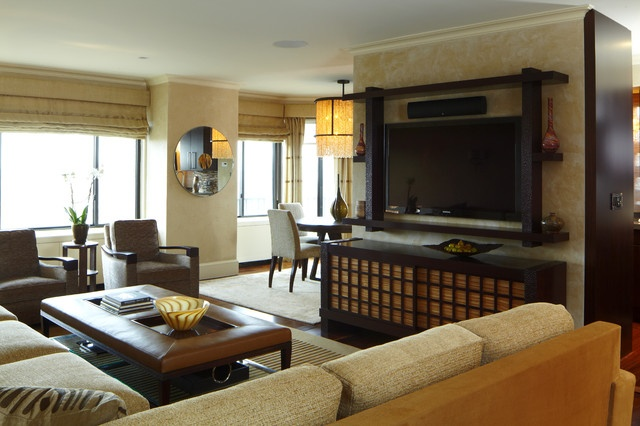 休闲简中式公寓 实木家居装饰图