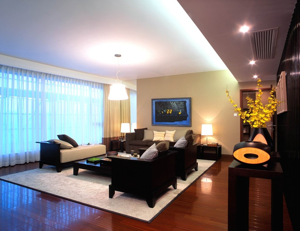 大气现代简中式客厅效果图
