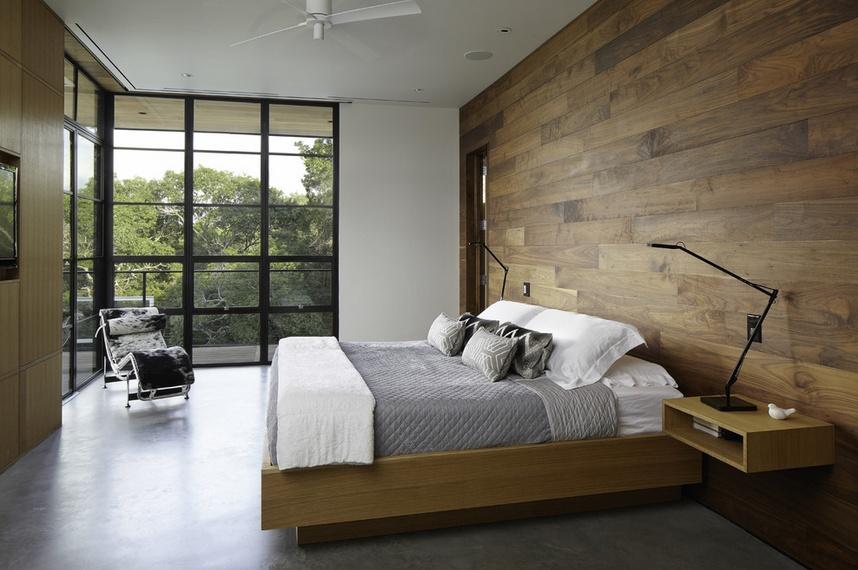 简约森系混搭卧室 原木背景墙设计