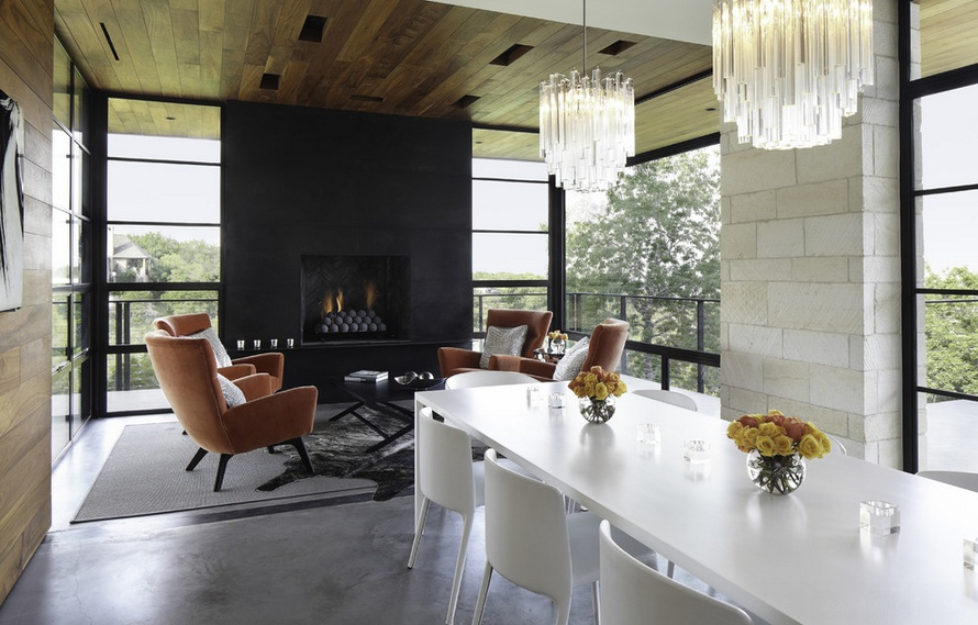 工业风混搭餐厅 壁炉背景墙设计