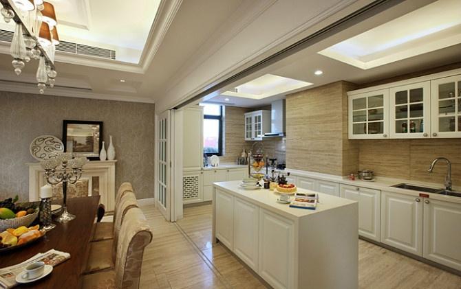 裸色调美式厨房 中岛隔断设计