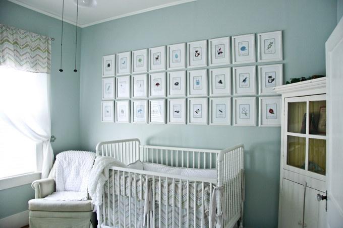 清新北欧风婴儿房 照片墙设计