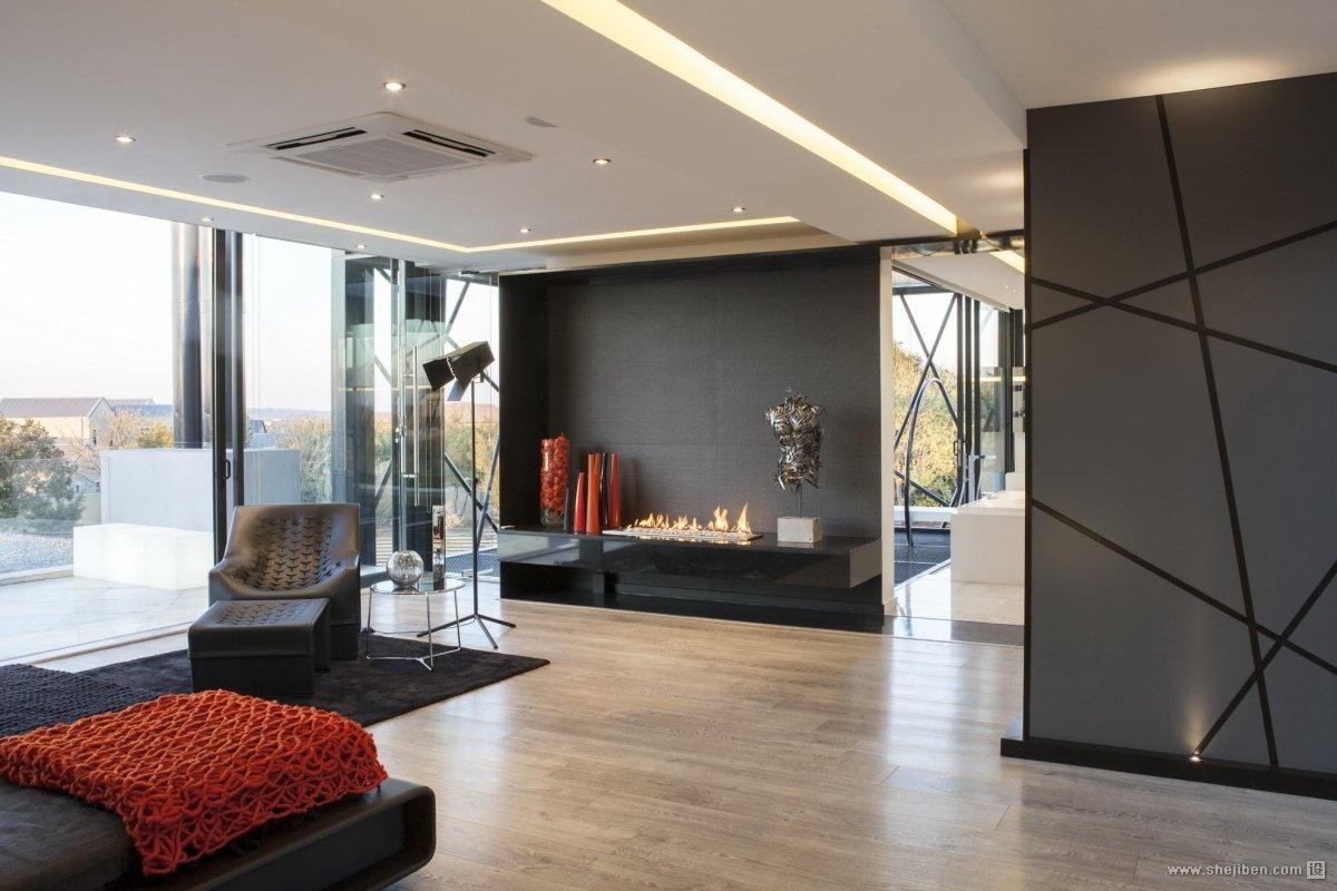 经典黑白后现代客厅效果图