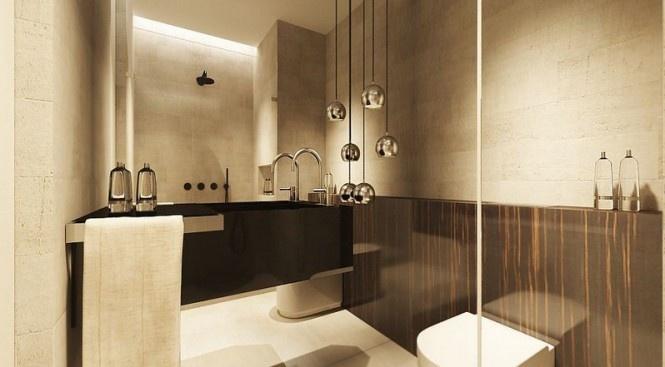 中性色混搭风浴室 镜面背景墙设计