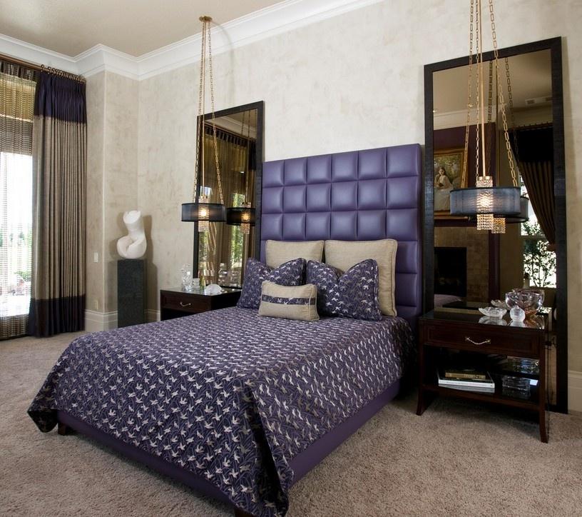 臥室紫色床頭軟包設計圖