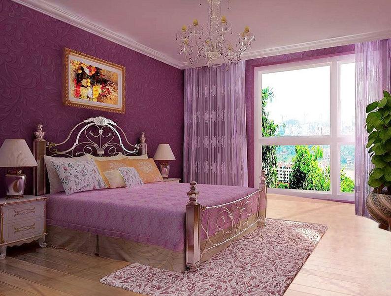 紫色臥室窗簾裝修效果圖大全圖片
