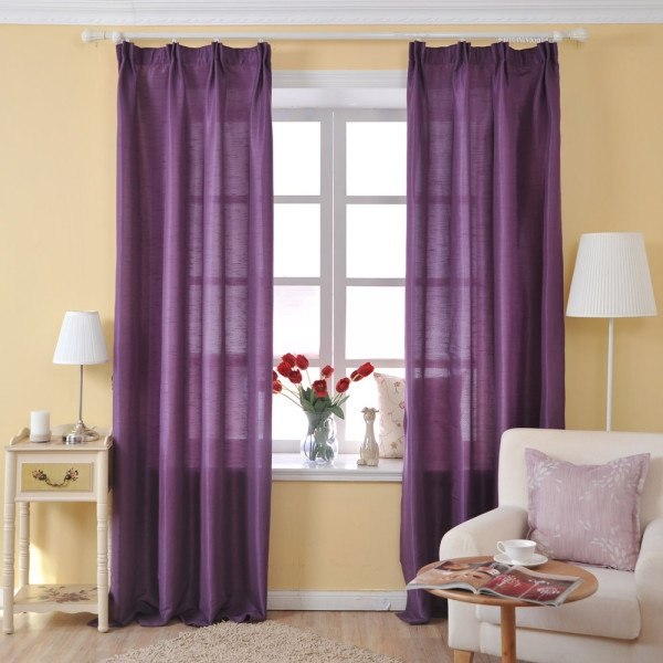 臥室紫色窗簾效果圖片