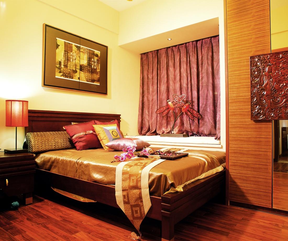 現代中式風 臥室飄窗窗簾裝飾圖