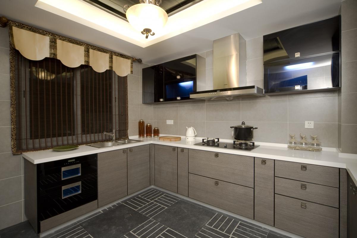 厨房L型不锈钢油烟机装修效果图