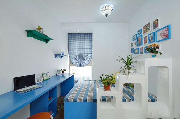 藍白地中海風格兒童房裝飾圖
