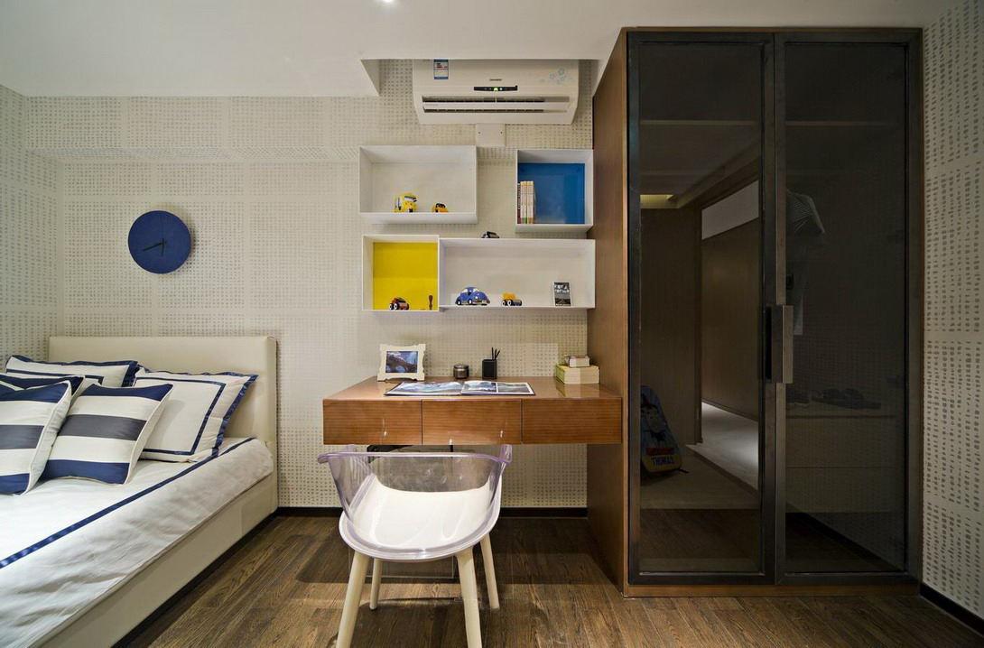 现代儿童房墙面置物柜设计