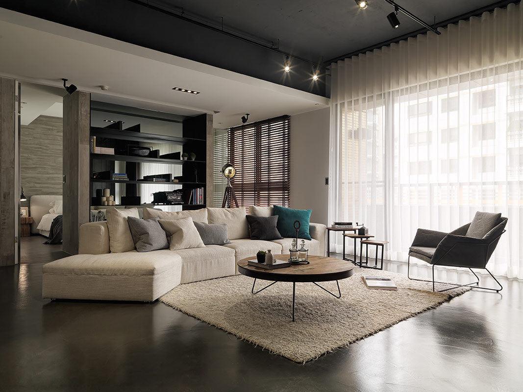现代工业风公寓 水泥质感混搭效果图