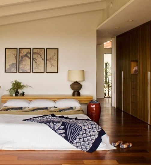 和风日式卧室榻榻米床设计_装修百科