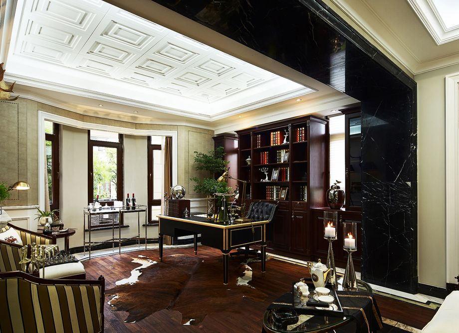 欧式豪华别墅书房吊顶设计_装修百科
