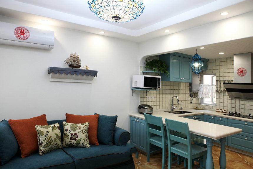 蓝色地中海风情厨房设计