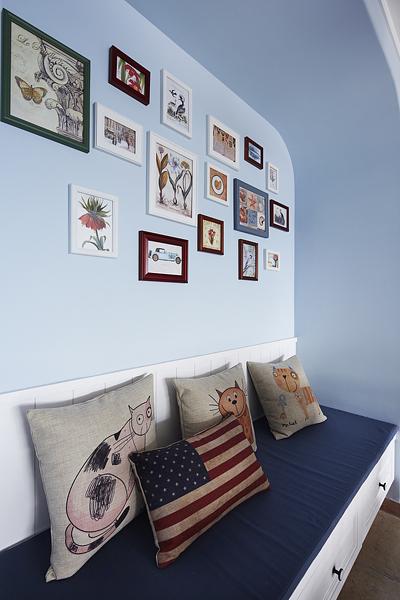地中海风格蓝色相片墙设计_装修百科