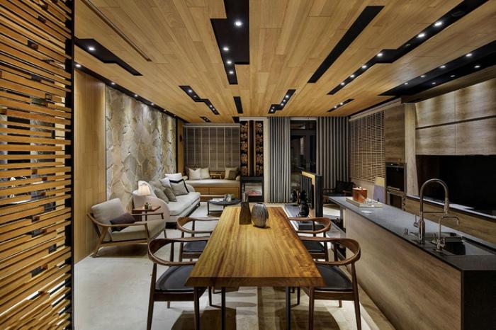 日式風格餐客廳實木吊頂設計