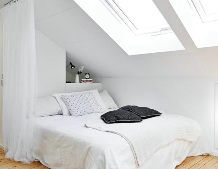 白色北歐風情閣樓臥室設計