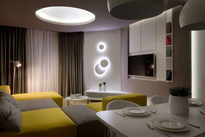 現代簡約一居室客廳效果圖