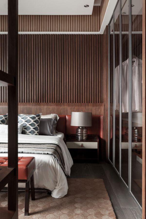 簡中式現代臥室 床頭背景墻裝飾
