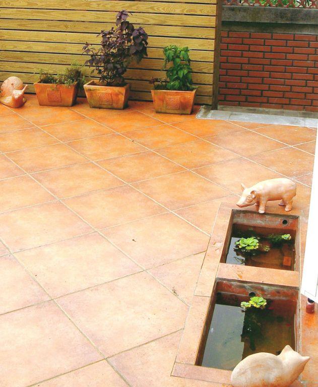 自然田園風陽臺地板磚設計