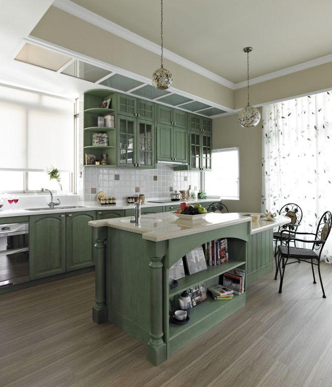 田園風格廚房綠色櫥柜裝飾圖