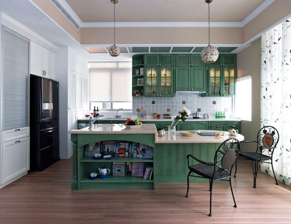 綠色田園風家居廚房案例圖