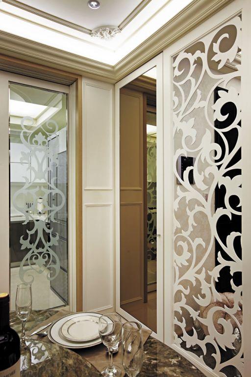 装修效果图 装修美图 新古典餐厅镂空雕花隔断设计