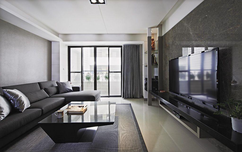 黑白灰现代家居客厅装潢图_装修百科